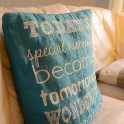 Coussin turquose Today special moments besome tomorrows wonderful memories