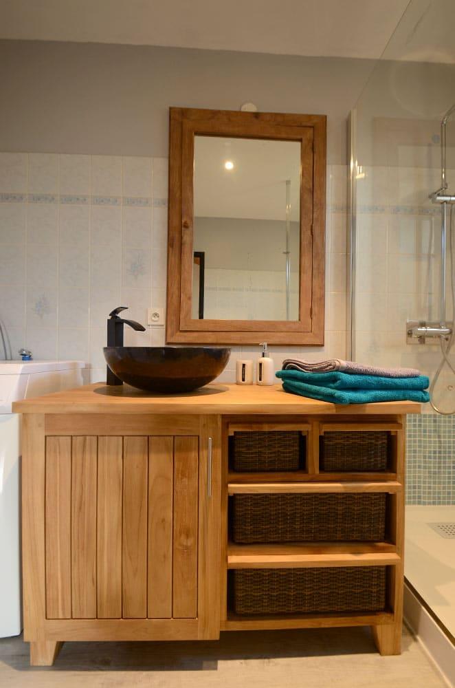 Meuble de salle de bain en teck massif