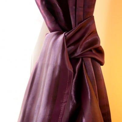 Rideau violet satin et velours